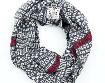 Snood - Micro Collection - Lambswool Merino - Grey / Red
