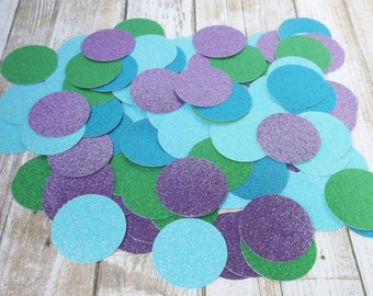 Mermaid Glitter Confetti-1.5 Inch Paper Circles-Under the Sea Party-Light Blue Aqua Blue Purple Green-Birthday Table Decoration-250 Pieces