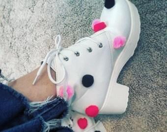 ON SALE! Pom Pom-tastic White Heeled Booties