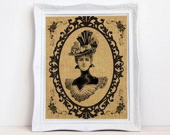 Victorian woman portrait  print vintage style