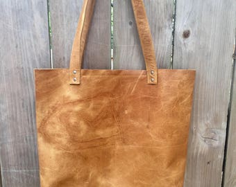 Leather Tote with Silver Rivets