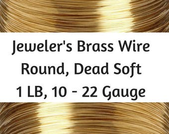 Jeweler's Brass Wire, 1 Lb, 10 - 22 Gauge Red Brass Wire, Dead Soft, Round, 10 Gauge Brass Wire, 12 Gauge Brass Wire, 16 Gauge Brass