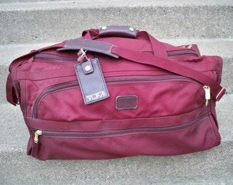 "24"" Vintage Tumi Maroon Duffle Duffel Bag Weekender Overnight Gym Maroon Red Ballistic Nylon Made in USA"