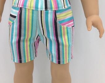 18 inch  doll clothes -  Fun striped   4 pocket shorts.