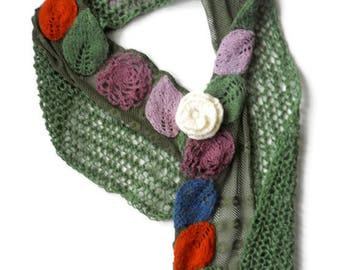 Knitted Women Scarves  Fancy Shawl Green Lace Scarf