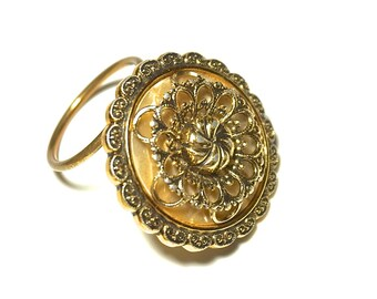 Vintage Scarf Ring,WESTERN GERMANY Scarf Slide,Gold Tone Filigree Scarf Clip, Round Scarf Holder,Scarf Accessories,Scarf Jewelry