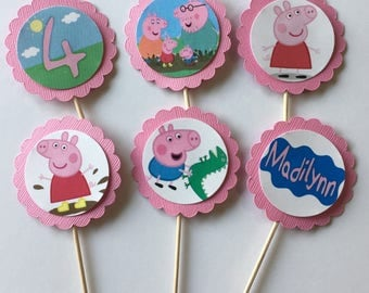 24 Peppa Pig Cupcake Toppers (birthday cupcake toppers)