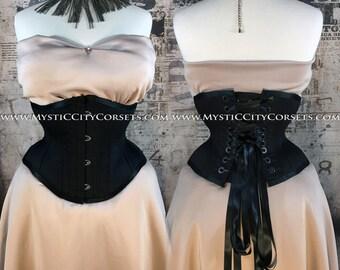 MCC-6 Black Cotton waspie corset underbust waist training tightlacing steel boned corset  MystiC City Corsets