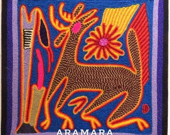 """7.9"""" Huichol yarn painting 20-058 Mexican painting - Mexican art - Huichol painting - Huichol art - Huichol Yarn"""