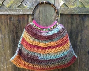Fall colors Crochet Handbag with Bamboo Handles