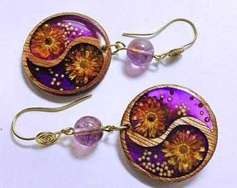 Purple flower earrings bamboo