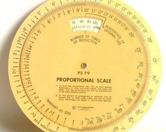 Vintage Proportional Scale for Film Printing and Enlarging, Great Darkroom Enlargement Tool