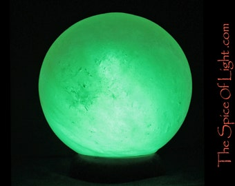 Green Chakra Sphere, LIMITED EDITION green Himalayan salt lamp sphere or globe sculpture, green orb (patents pending)