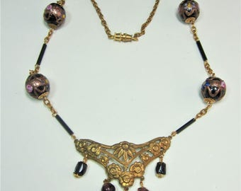 Vintage Italian glass beads and metal pendant necklace