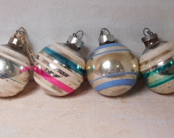 SALE - Vintage 1950's Christmas Ornaments - Set of Four Shiny Bright