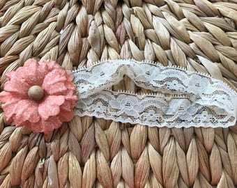 Shabby Chic Peach Floral Headband