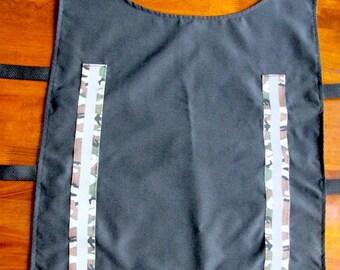 Reflective Dog Rain Coat.  Black and Camo Dog Rain Vest.  Seattle Dog Rain Coat.