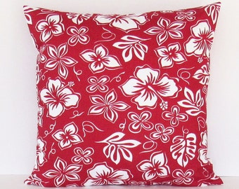 Red Floral Pillow Cover Decorative Throw Tropical Hibiscus 16x16 18x18 20x20 22x22 12x16 12x18 12x20 14x22 Lumbar Sofa Couch Zipper