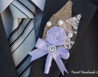 Men's wedding boutonniere, Lavender Men's Boutonniere, Rustic Boutonniere, Groom Boutonniere