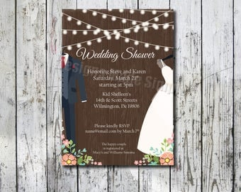 Rustic Floral Bridal Shower Invite with Tux and Wedding Gown - Printable - customizable