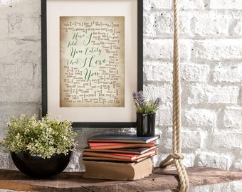 Have I Told You Lately - Rod Stewart - 1st Anniversary Gift for husband wife-Song Lyrics-Personalized names, date pick colors verse print