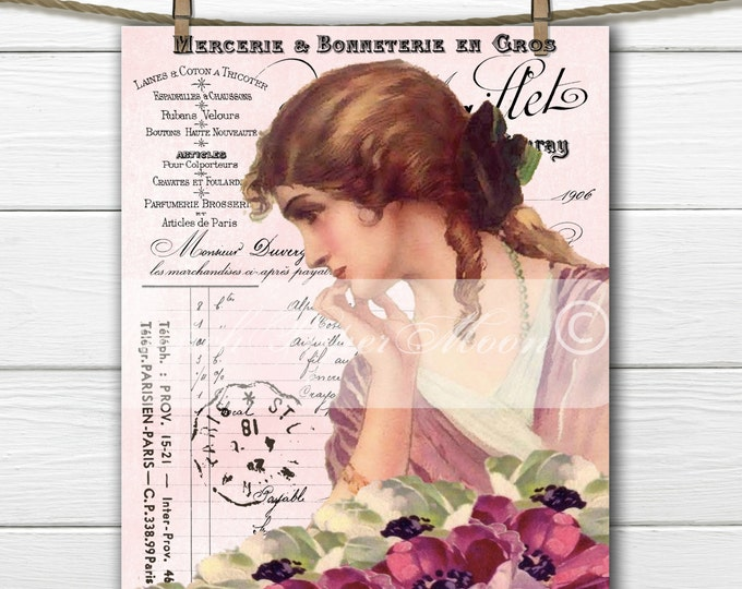 Shabby Digital Victorian Lady with French Graphics, Flowers, French Fabric Transfer Graphic, Instant Download