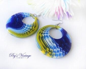 Trending Vintage Plastic Hoop Earrings, Pierced Blue & Yellow Hoop Earrings