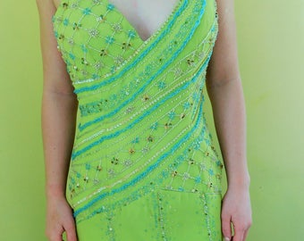 1990'a, XCITE, Like New, Formal Beaded Gown, Floor Length, Green, Prom Dress, Size 8