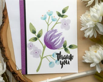 Thank You Card, Handmade Cards, Flower Thank You Card, Coworker, Mom, Friend, Greetings Cards, A2, Thanks, Floral Thank You Card, Flower