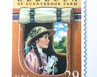 10 Vintage Rebecca of Sunnybrook Farm Postage Stamps //  Classic Childrens Book Postage Stamps // 29 Cent Vintage Stamps for Mailing