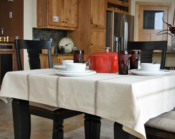Farmhouse tablecloth, linens, grainsack fabric, french farmhouse, tan stripe fabric, table linens, home and living, kitchen and dining