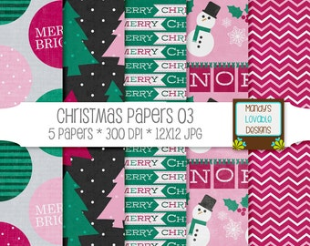 Christmas Digital Papers Backgrounds - Holiday Theme Pink Green - Scrapbooking Paper, Blog Design, Photography Backgrounds - High Resolution