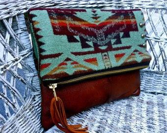 Pendleton Wool Leather Tassel  Foldover Clutch Bag Leather