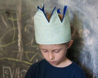 Whimsical Tulips Fabric Crown - Blue