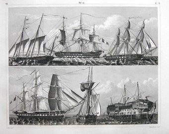 Original antique Steel Engraving of Gunships of Various Rigs decorative art home decor
