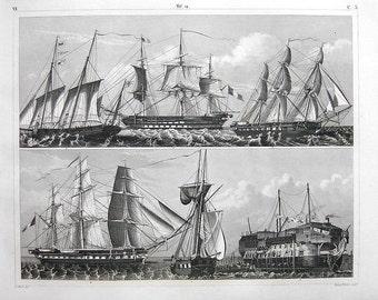 Original antique Steel Engraving of Gunships of Various Rigs decorative art home decor