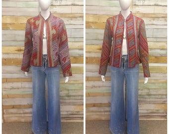 Beautiful vintage Kantha Indian Anokhi summer jacket REVERSIBLE