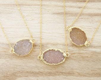 Natural druzy necklace, druzy agate, oval druzy, oval druzy agate necklace, druzy necklace, agate necklace, drusy necklace, gold druzy