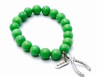 Wish bracelet, Green bracelet, Wish bracelet, Wishbone, Good luck bracelet, Green beaded bracelet