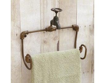 Vintage/Rustic Faucet Style Hand Towel Rack