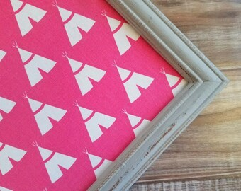 READY to ship TEE PEE Cork Board Hot PInk and Gray Nursery Bulletin Board Memo Board Christmas Gift Long and Skinny