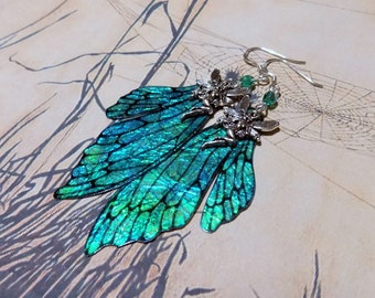 Fairy Wing Earrings, Fairy Earrings, Faerie Earrings, Iridescent Green Earrings, Hand Painted, Green Dangle Earrings, Boho, Hippy