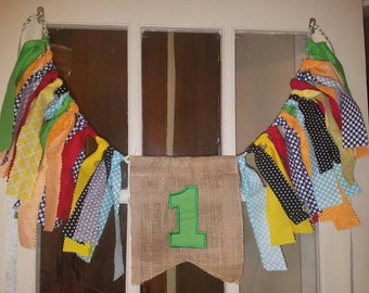 One 1 high chair banner. Smash cake prop 1st birthday high chair banner primary colors theme green, blue, yellow, orange