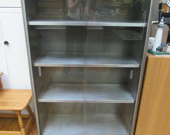 industrial steel bookcase with glass doors mid century modern