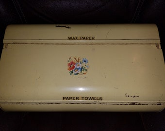 Vintage Retro Metal Wax Paper & Paper Towel Dispenser