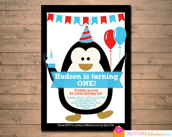 Penguin Birthday Invitation - Boy - Blue Red - Summer - Choose Digital/Printable or Printed w/Envelopes, Shipping Included