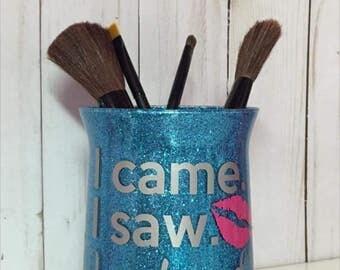 Glass Glitter Makeup Brush Holders
