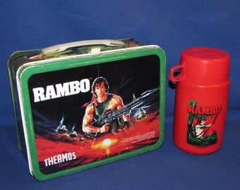 RAMBO LUNCH BOX and Thermos Bottle 1985 King Seeley Thermos