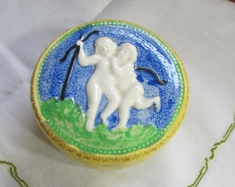 Made in Japan Bright Yellow Trinket Dish with Cherubs on Lid; two piece jewelry keeper