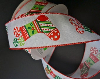 Christmas Stocking Wired Ribbon, 25 Yard Roll